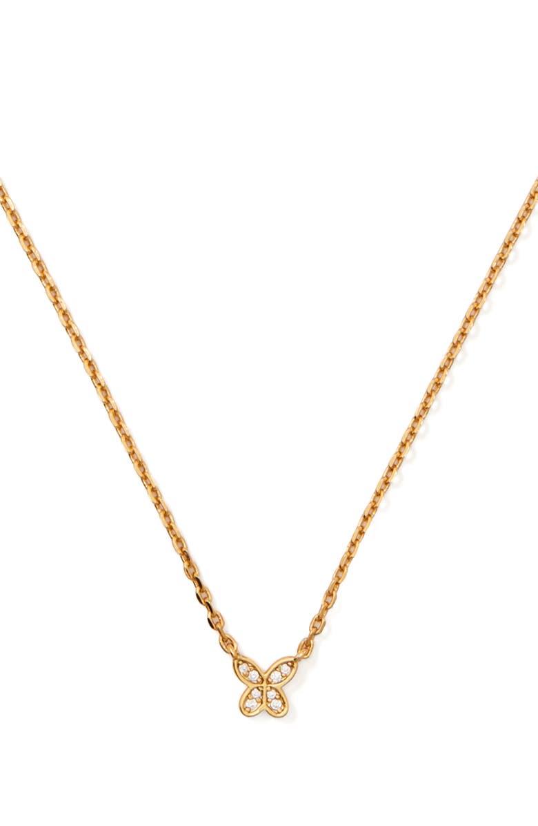 KATE SPADE NEW YORK pavé mini pendant necklace, Main, color, 710