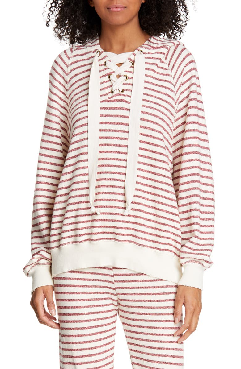 THE GREAT. Tie Neck Stripe Hoodie, Main, color, 603