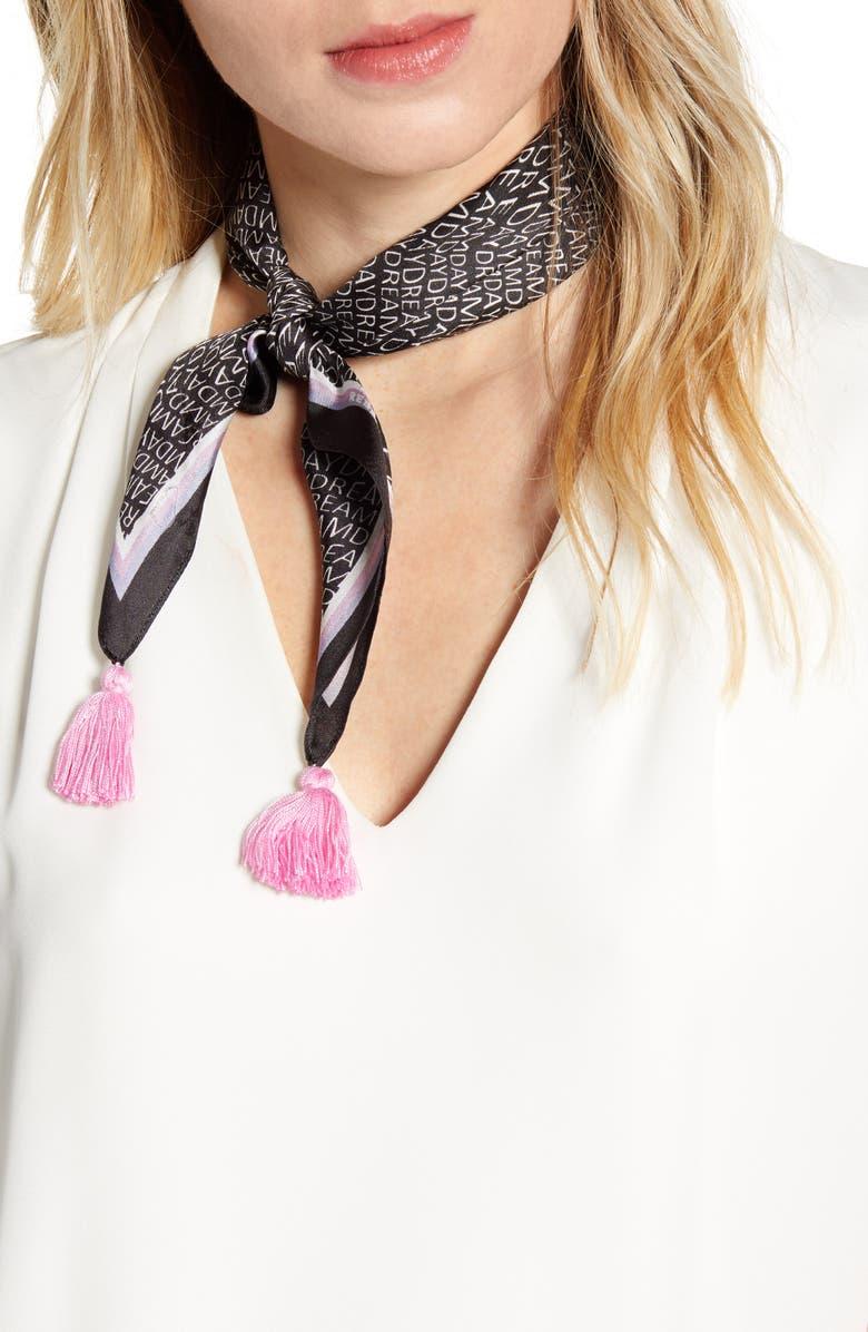 REBECCA MINKOFF Dreamday Tassel Silk Twill Scarf, Main, color, BLACK