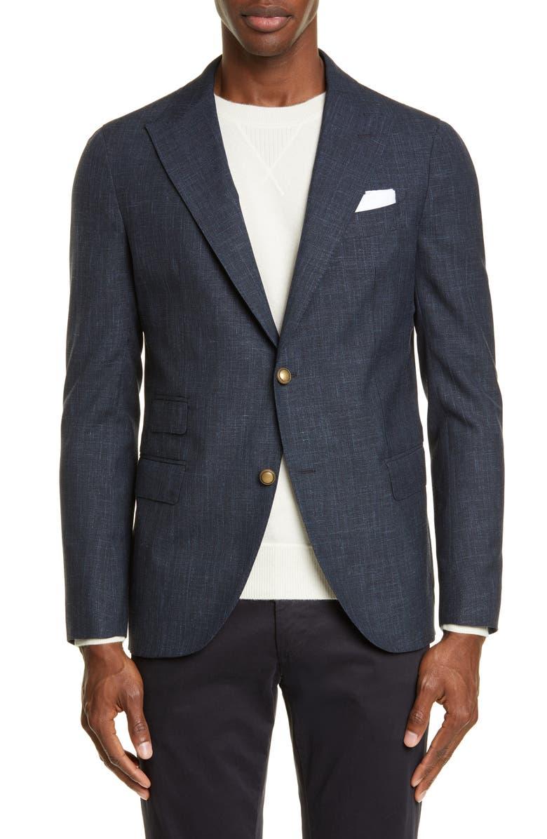 ELEVENTY Trim Fit Solid Wool Blend Sport Coat, Main, color, ROYAL