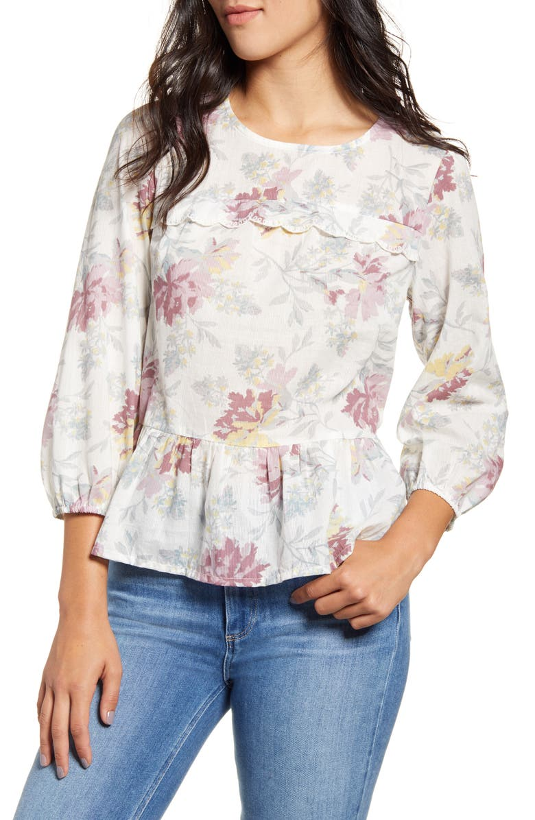 LUCKY BRAND Embroidered Ruffle Hem Cotton Top, Main, color, NATURAL MULTI