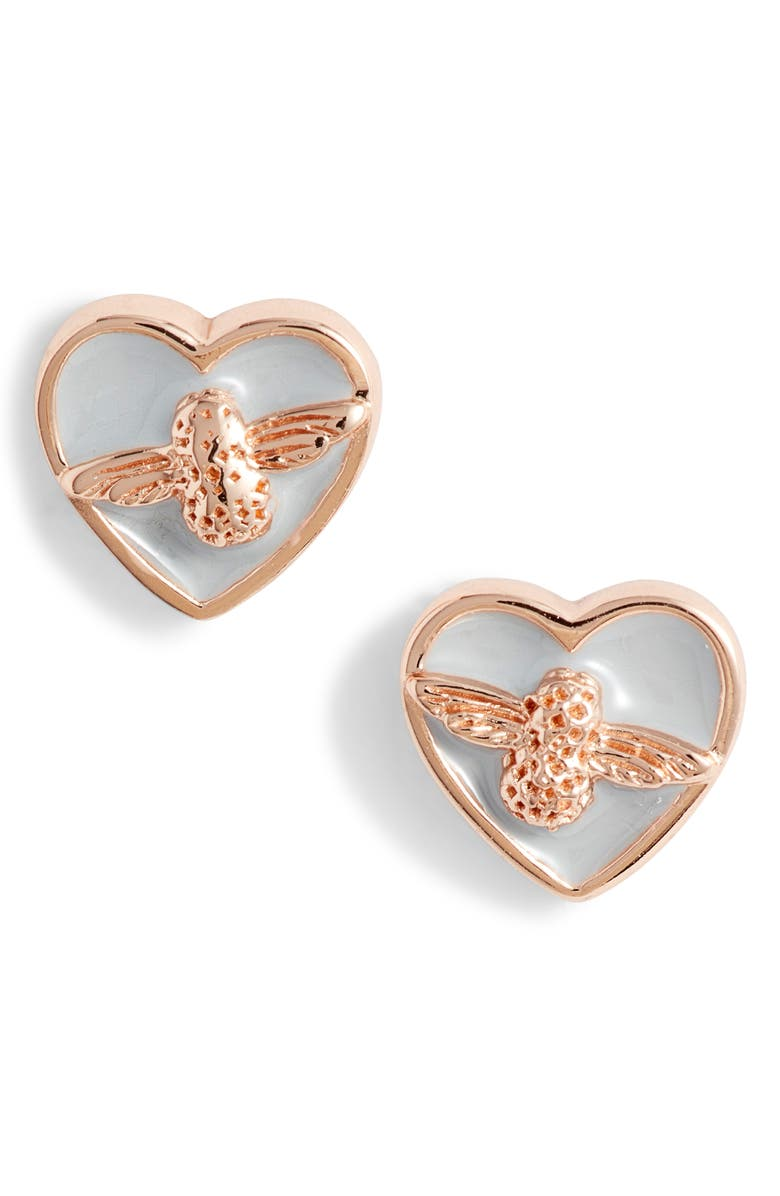 OLIVIA BURTON Love Bee Stud Earrings, Main, color, GREY/ ROSE GOLD