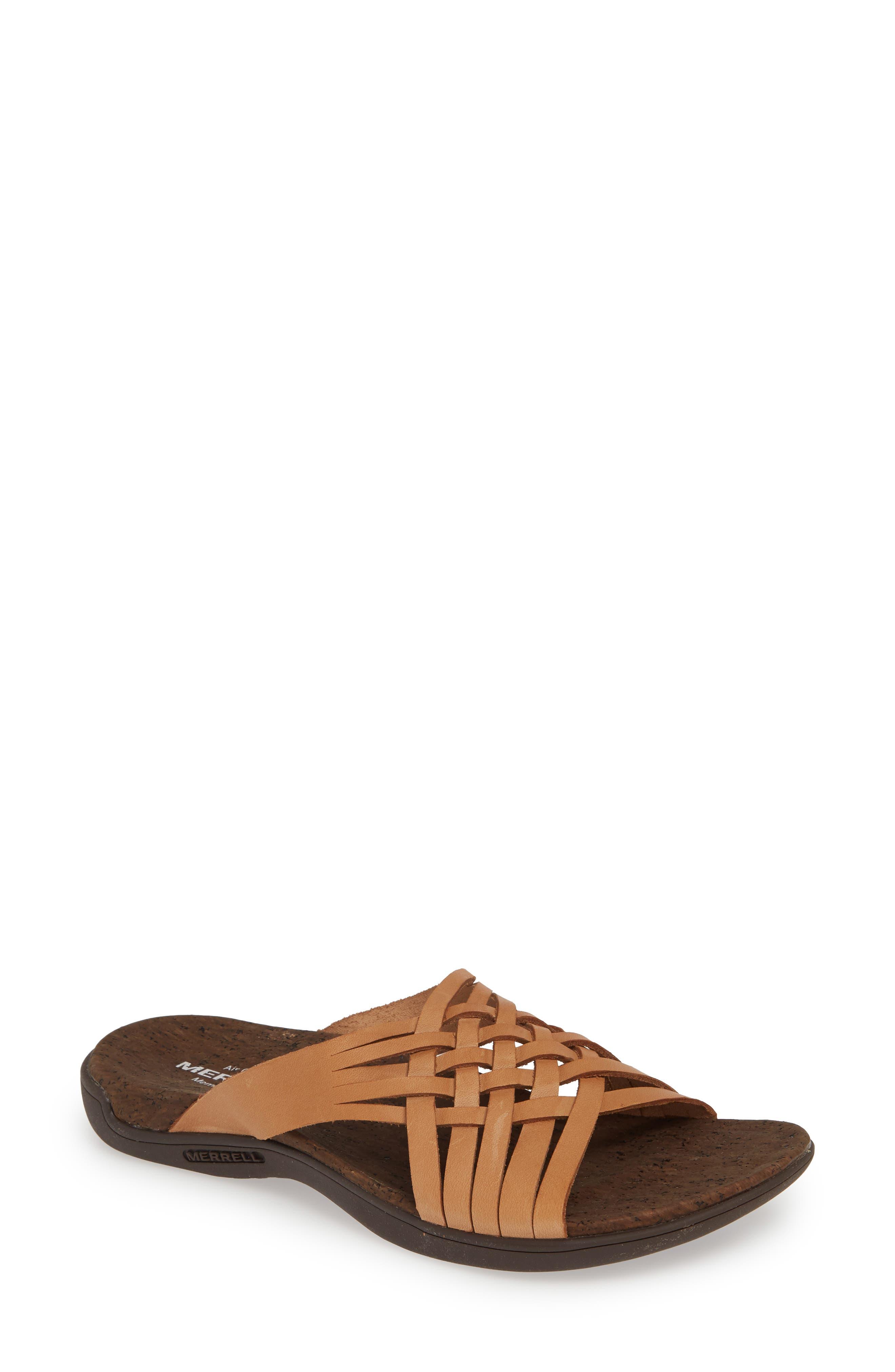 Image of Merrell District Mahana Leather Woven Slide Sandal