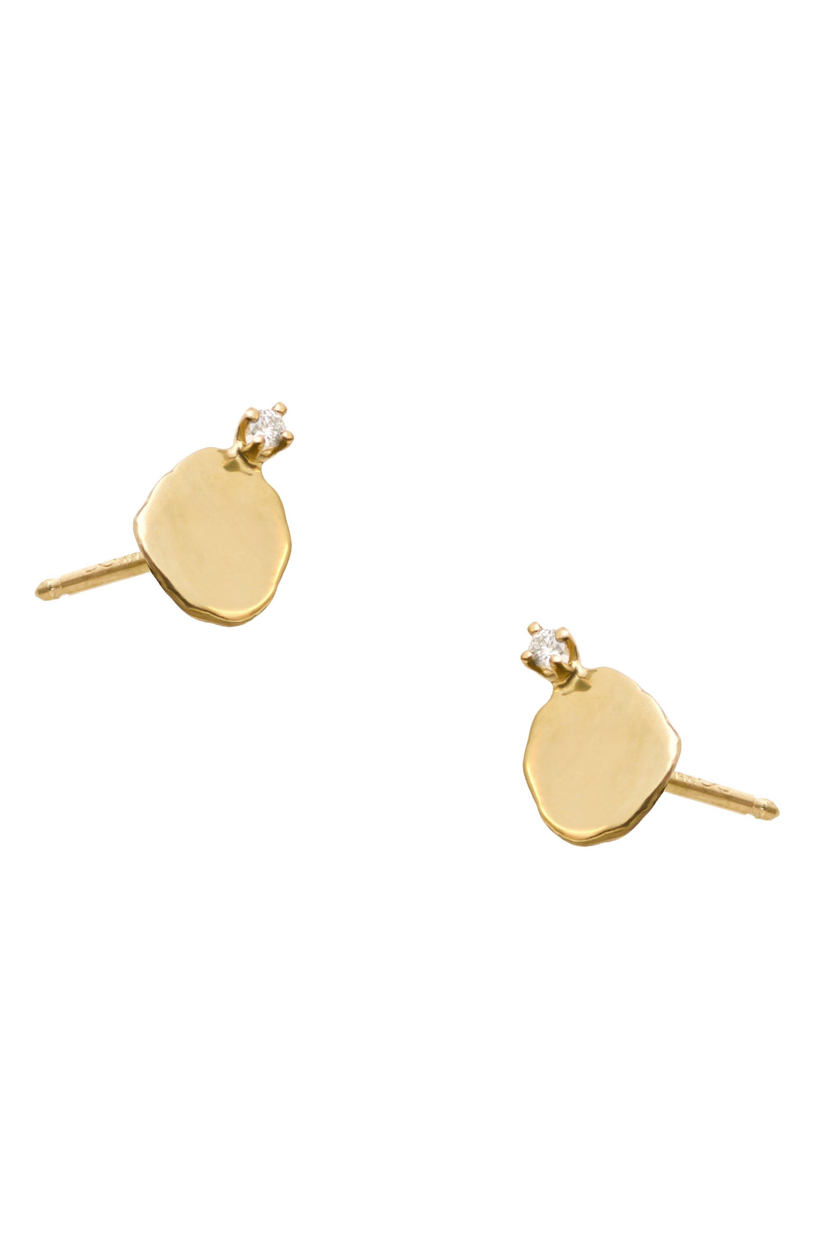 ,                             Medium Disc Stud Earrings,                             Alternate thumbnail 2, color,                             14KT GOLD