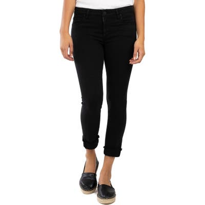 Petite Kut From The Kloth Amy Crop Straight Leg Jeans, Black