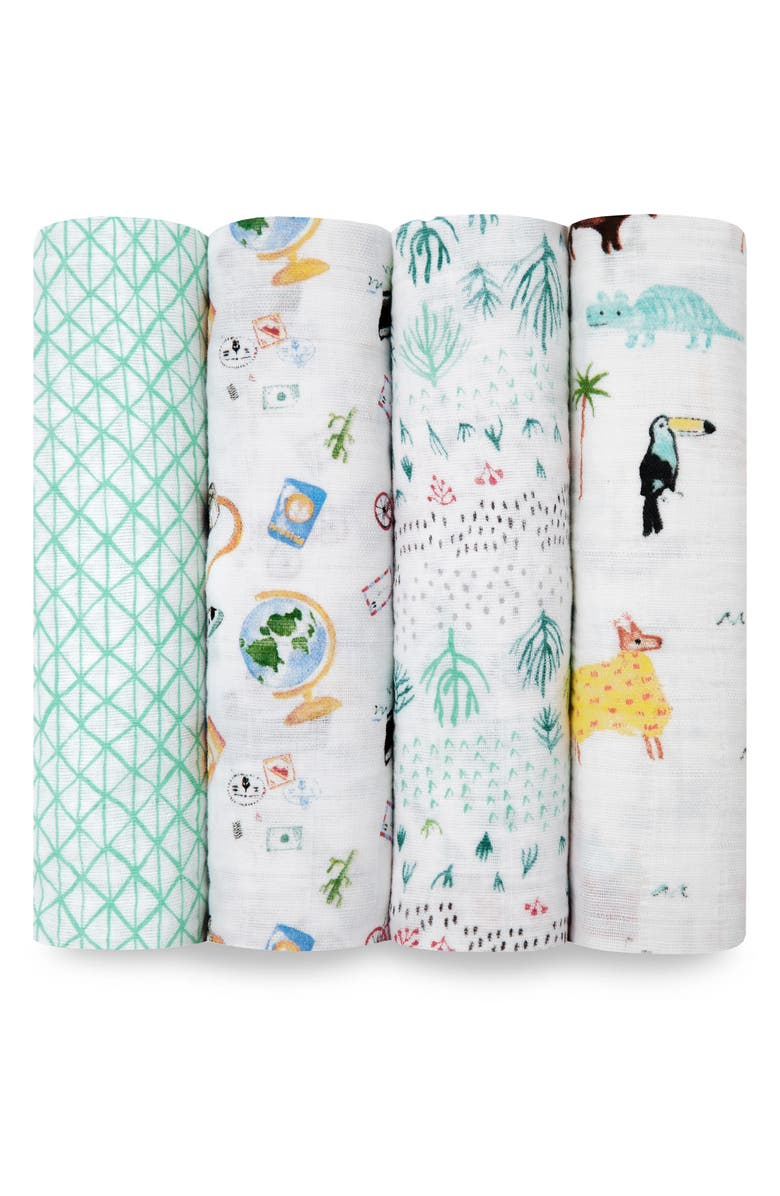 ADEN + ANAIS Set of 4 Classic Swaddling Cloths, Main, color, AROUND THE WORLD