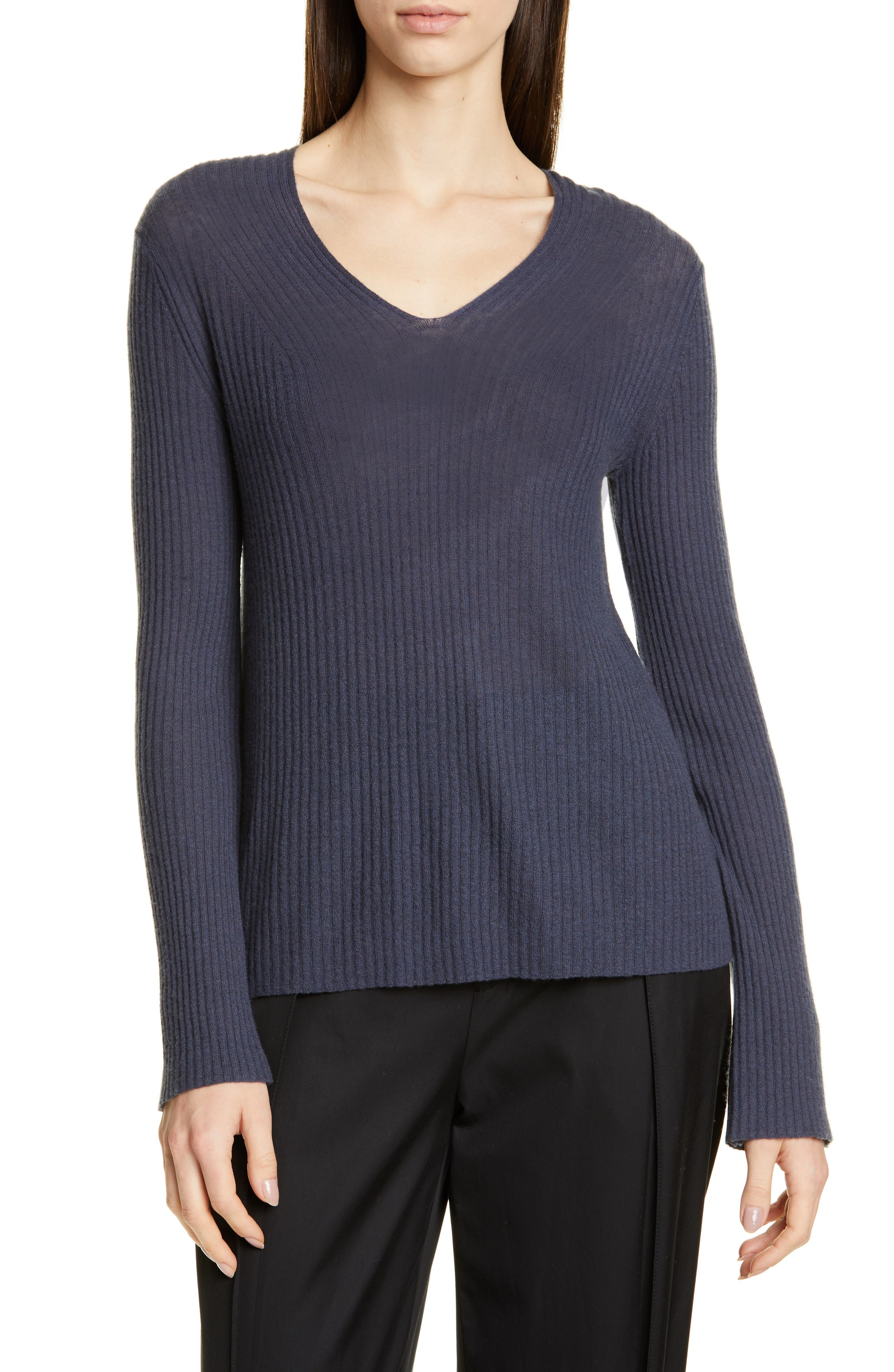 Vince Ribbed Wool & Cashmere Sweater, Grey