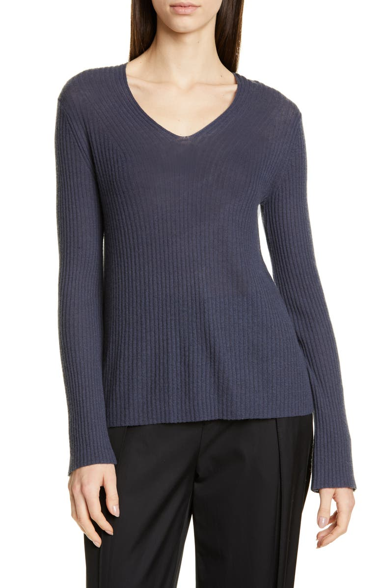 VINCE Ribbed Wool & Cashmere Sweater, Main, color, HEMATITE
