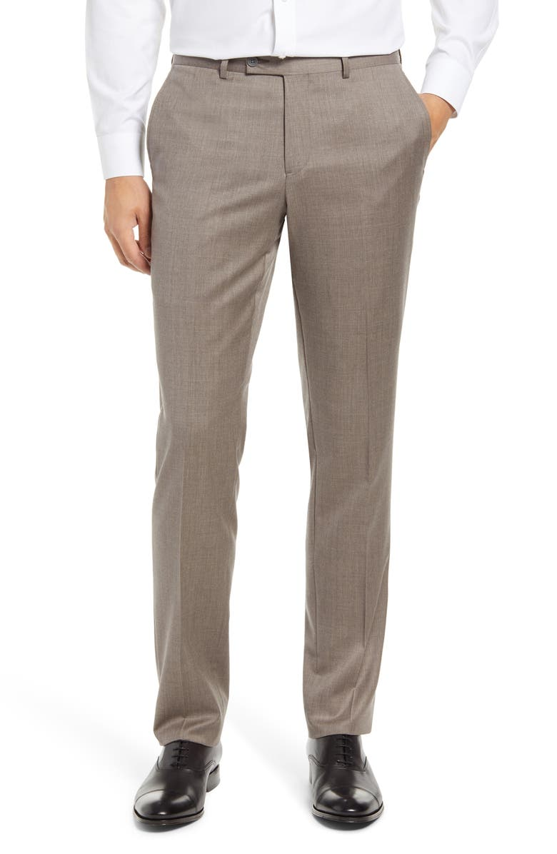 NORDSTROM MEN'S SHOP Trim Fit Wool Blend Trousers, Main, color, GREY VINTAGE