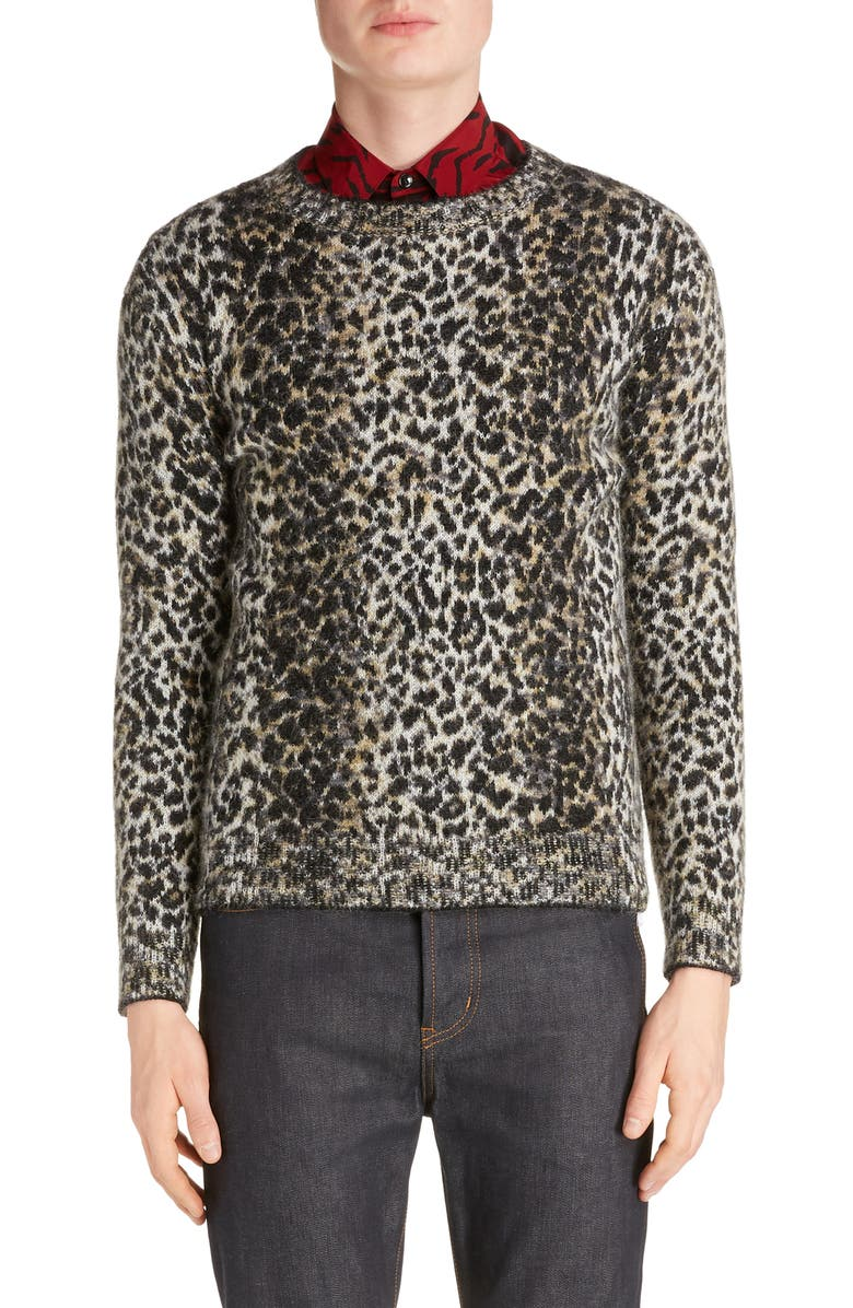 SAINT LAURENT Leopard Wool Blend Sweater, Main, color, BEIGE