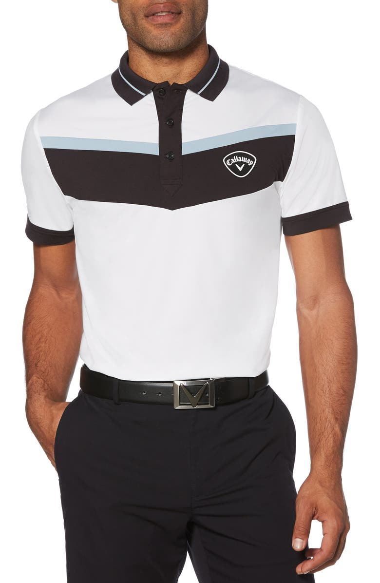 CALLAWAY X Colorblock Performance Polo, Main, color, BRIGHT WHITE