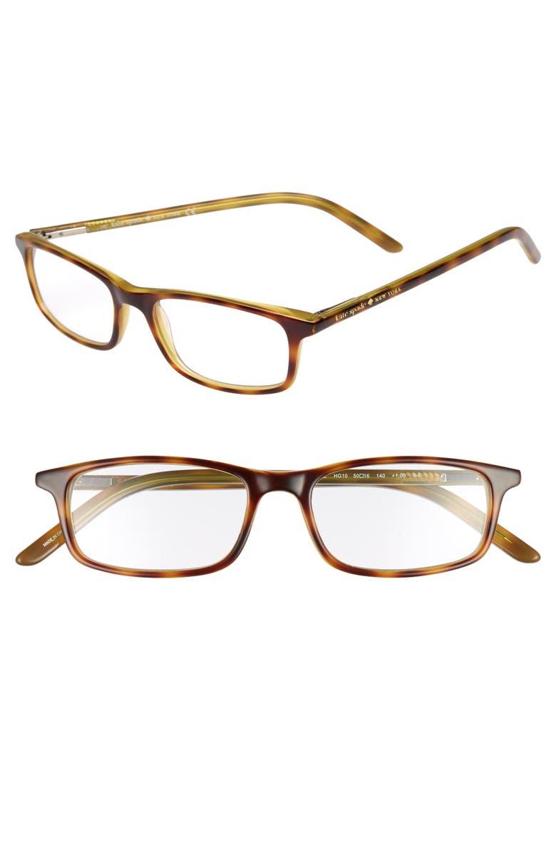 KATE SPADE NEW YORK jodie 50mm reading glasses, Main, color, HAVANA GREEN