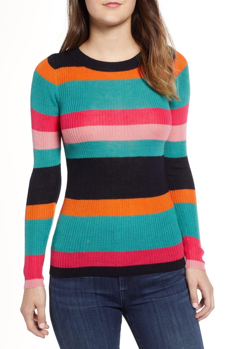 COTTON EMPORIUM Rainbow Skivvy Stripe Sweater, Main, color, 300