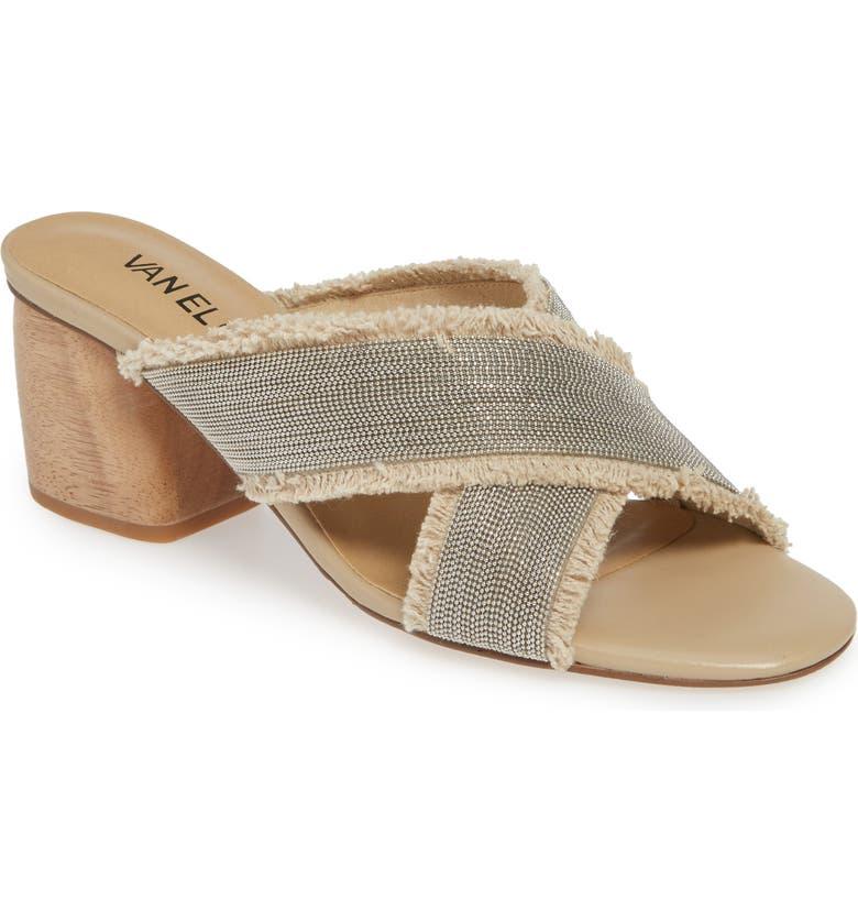 VANELI Levya Embellished Slide Sandal, Main, color, NATURAL CANVAS/ SILVER