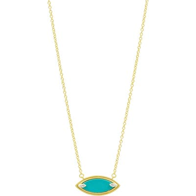 Freida Rothman Fleur Bloom Empire Turquoise Pendant Necklace