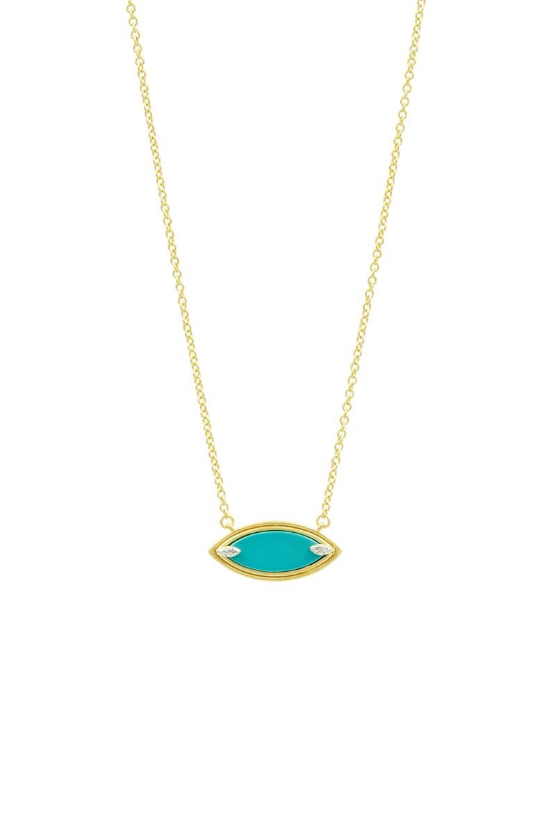 FREIDA ROTHMAN Fleur Bloom Empire Turquoise Pendant Necklace, Main, color, GOLD/ WHITE/ TURQUOISE