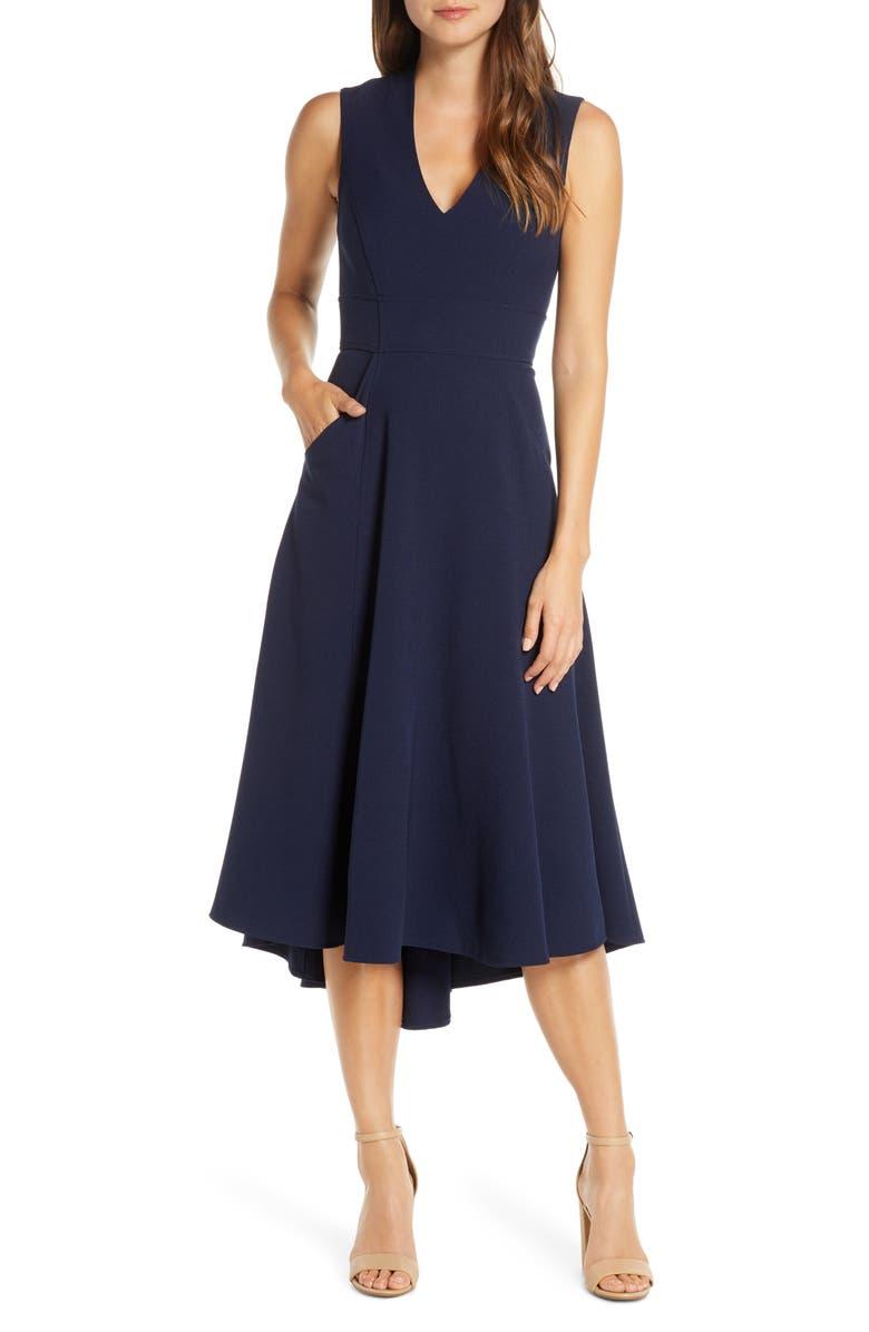 ELIZA J High/Low Fit & Flare Dress, Main, color, NAVY