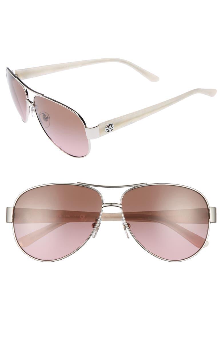 TORY BURCH 60mm Aviator Sunglasses, Main, color, 040