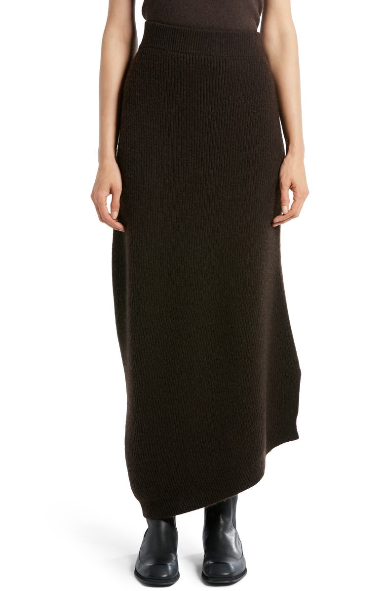 THE ROW Cymone Long Cashmere Skirt, Main, color, SMOKEY BROWN
