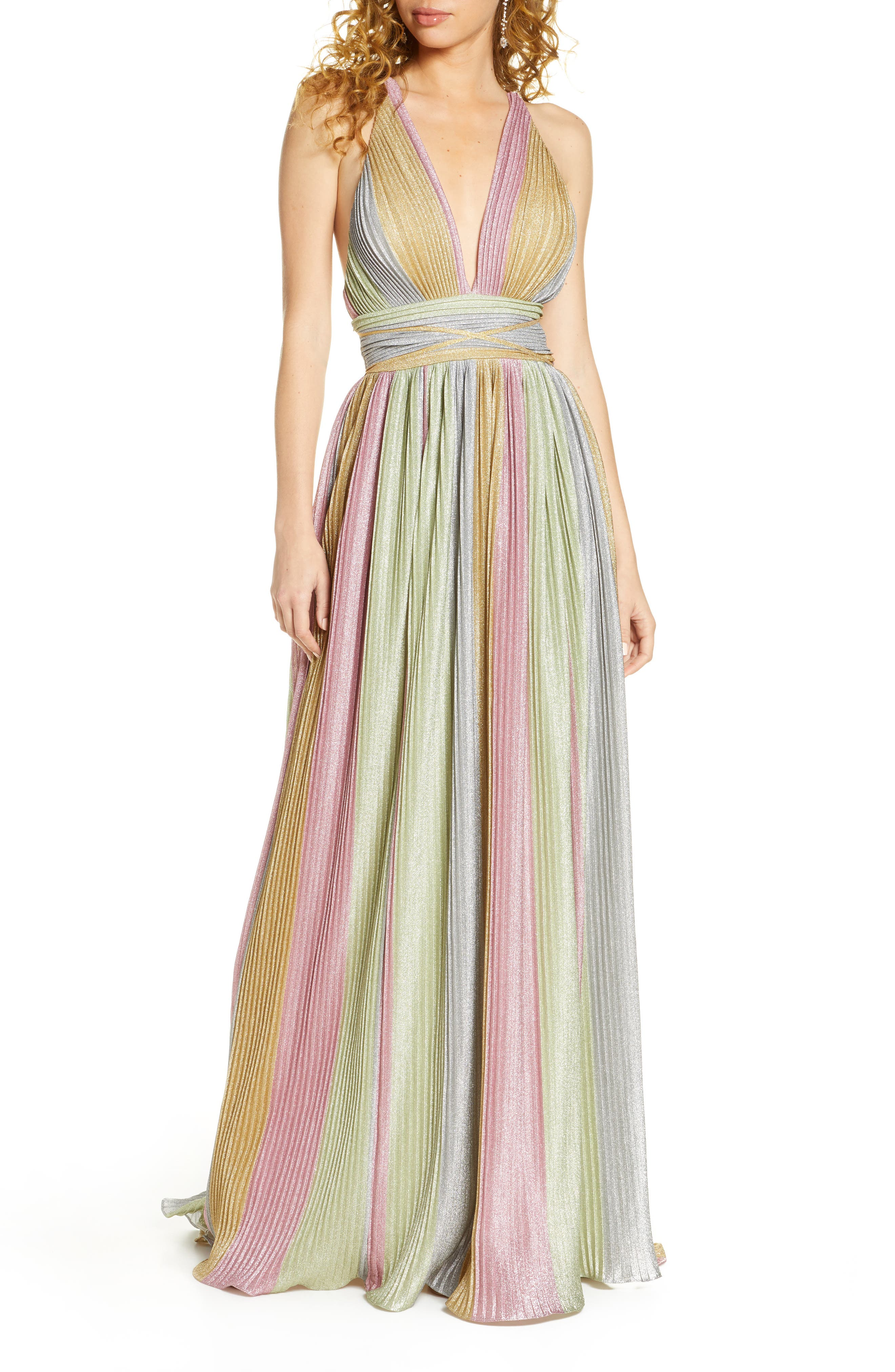 70s Prom, Formal, Evening, Party Dresses Womens MAC Duggal Rainbow Sparkle Pleated Gown Size 14 - Pink $238.80 AT vintagedancer.com
