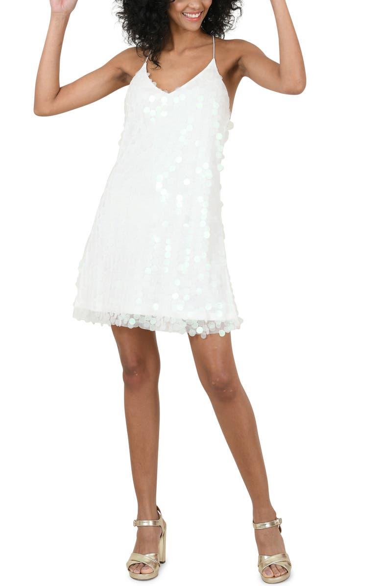 MOLLY BRACKEN Strappy Sequin Minidress, Main, color, WHITE