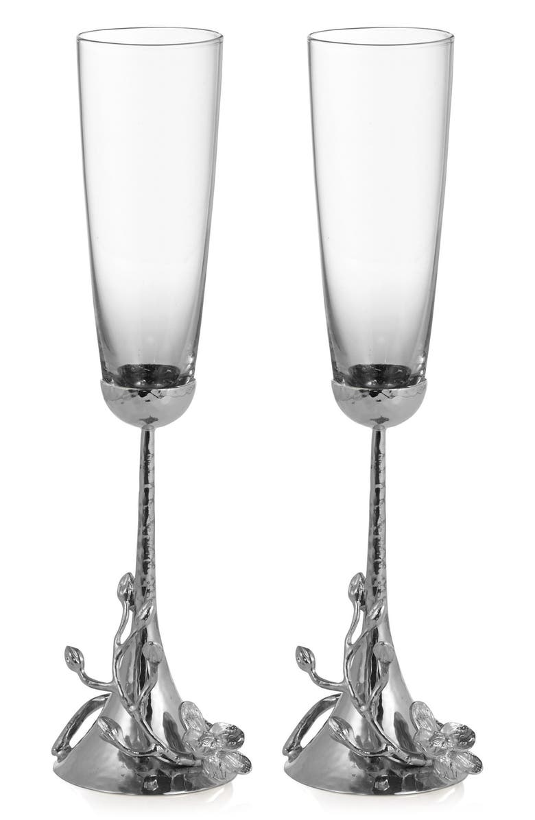 MICHAEL ARAM White Orchid Set of 2 Toasting Flutes, Main, color, SILVER