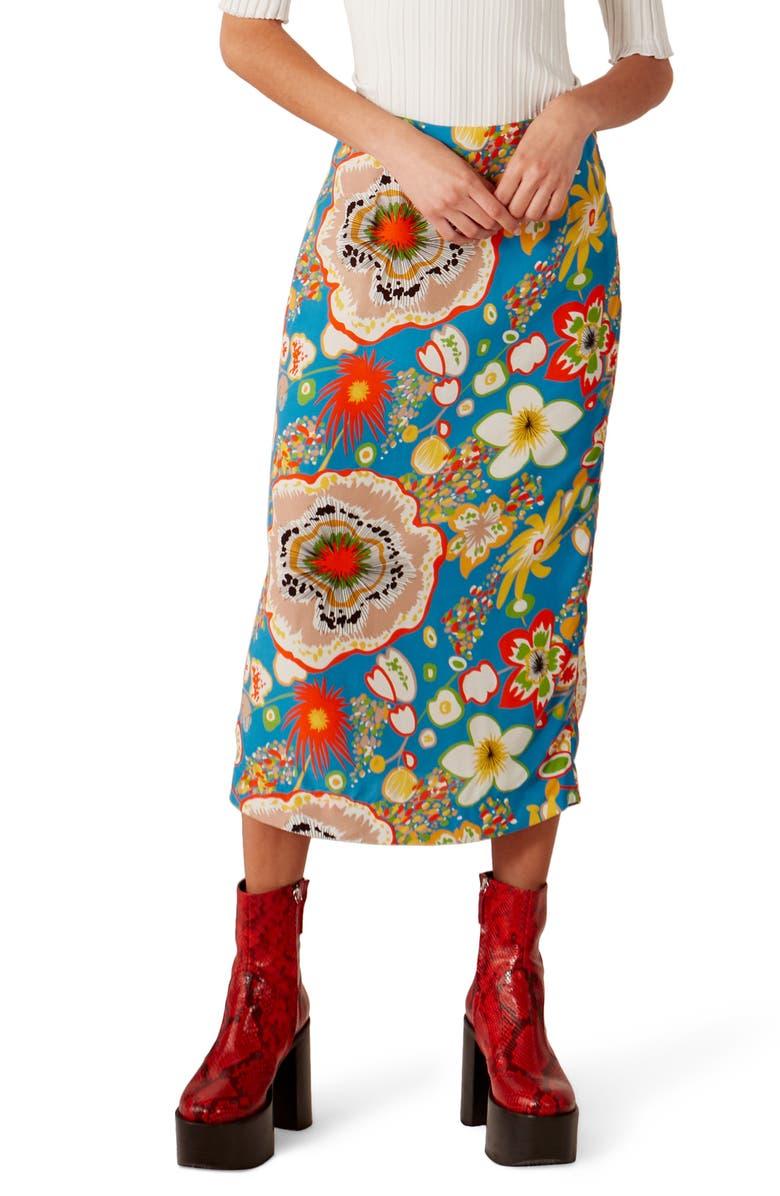 SIMON MILLER Ligo Pencil Skirt, Main, color, BLUE FLORAL PRINT