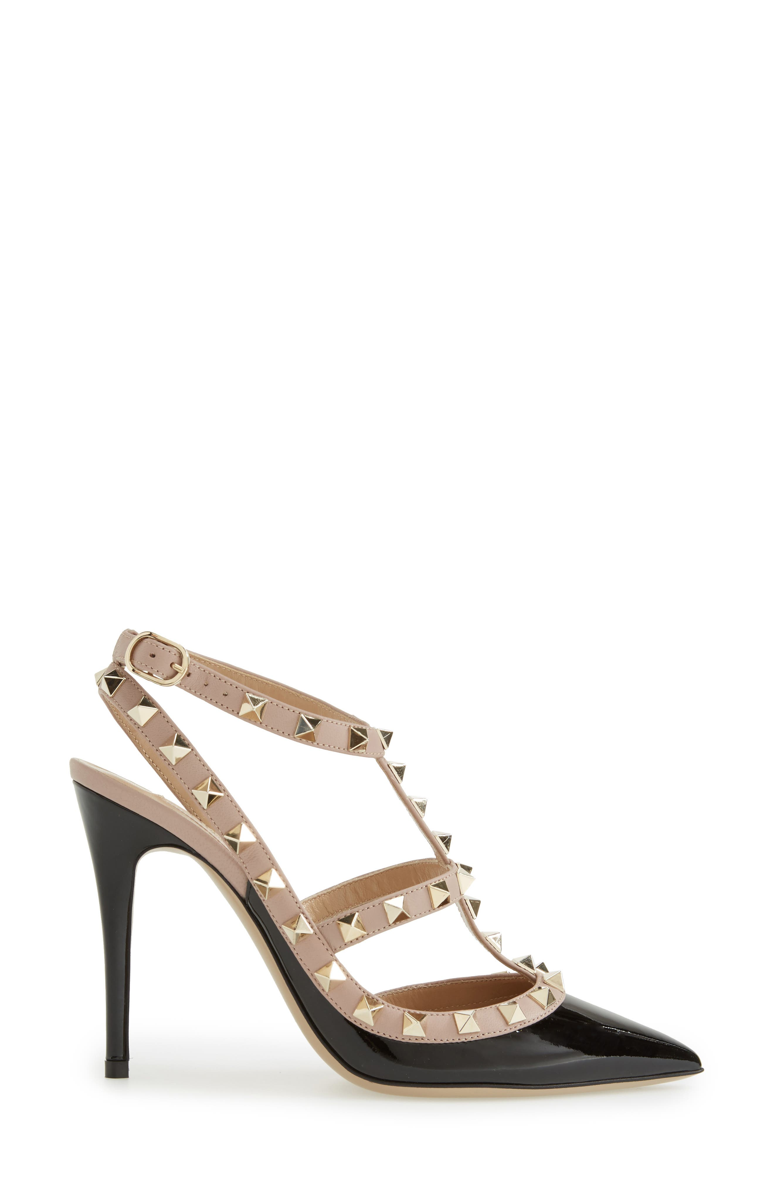 ,                             Rockstud T-Strap Pump,                             Alternate thumbnail 4, color,                             BLACK/ BLUSH PATENT