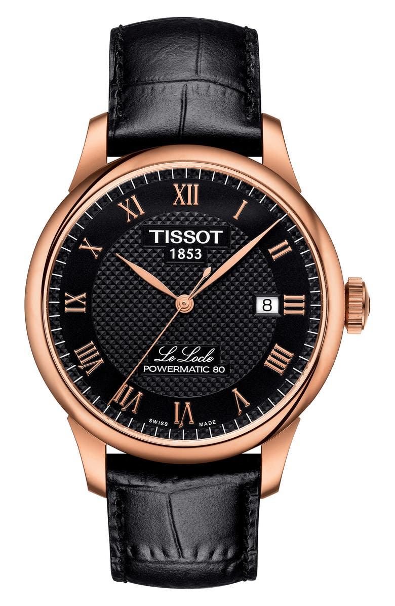 TISSOT Le Locle Leather Strap Watch, 39mm, Main, color, BLACK/ ROSE GOLD