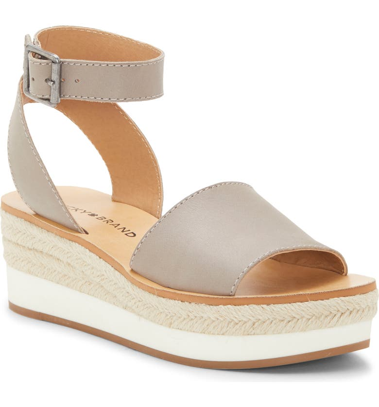 LUCKY BRAND Joodith Platform Wedge Sandal, Main, color, CHINCHILLA LEATHER