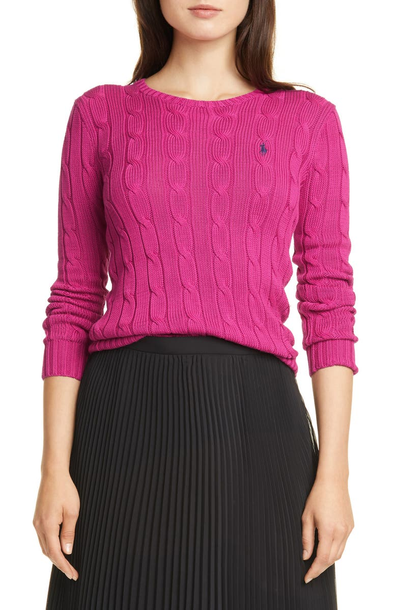 POLO RALPH LAUREN Cable Knit Cotton Sweater, Main, color, CURRANT