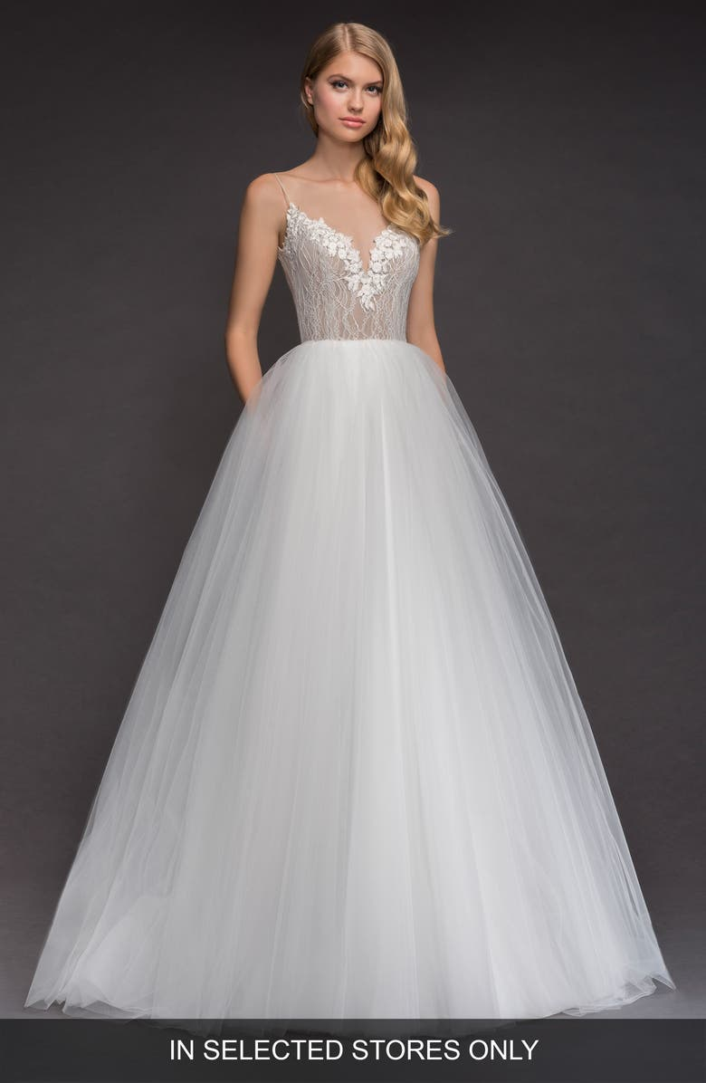 BLUSH BY HAYLEY PAIGE Brier Lace & Tulle Ballgown, Main, color, IVORY
