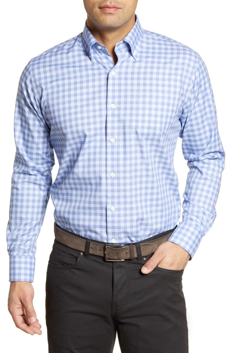 PETER MILLAR Garrett Regular Fit Check Print Button-Down Shirt, Main, color, BLUE LAPIS