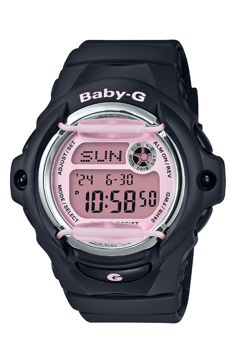 G-SHOCK BABY-G Digital Resin Strap Watch, 35mm, Main, color, 001