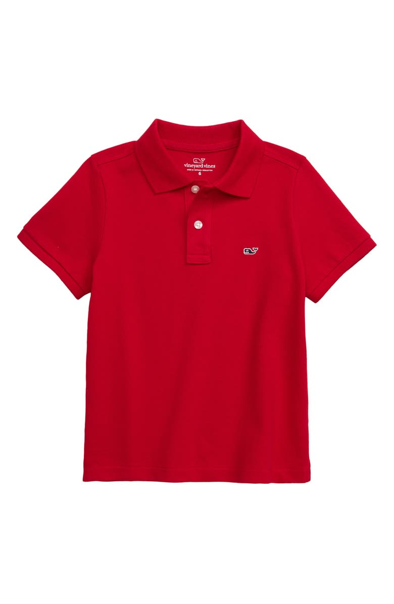VINEYARD VINES Classic Piqué Cotton Polo, Main, color, RED VELVET