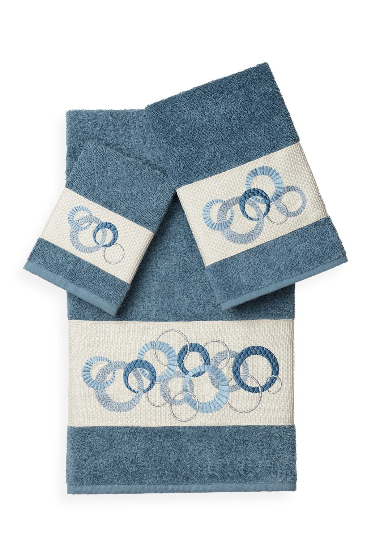 Image of LINUM TOWELS Annabelle 3-Piece Embellished Towel Set - Teal