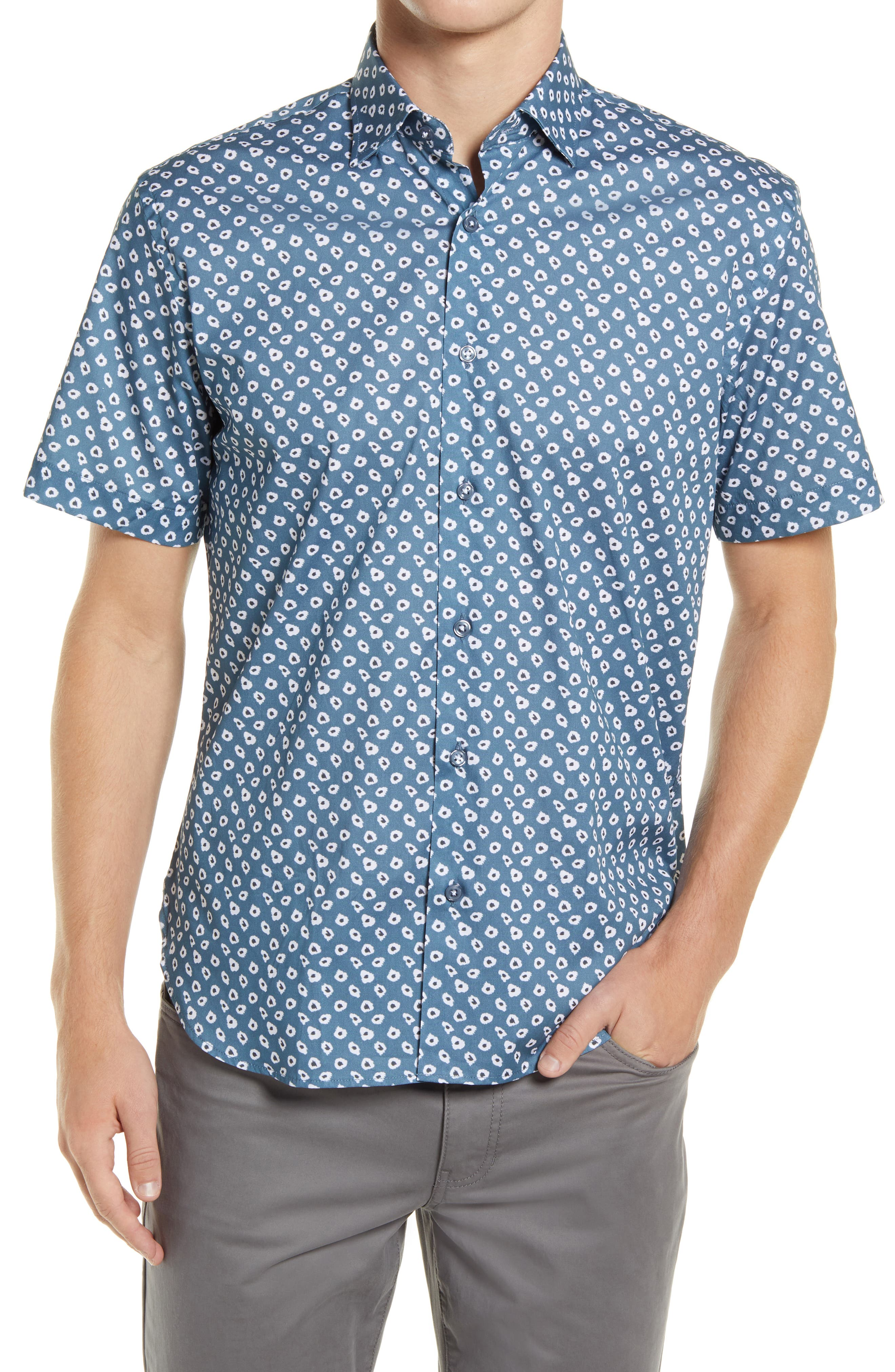Wide Eyes Short Sleeve Stretch Button-Up Shirt