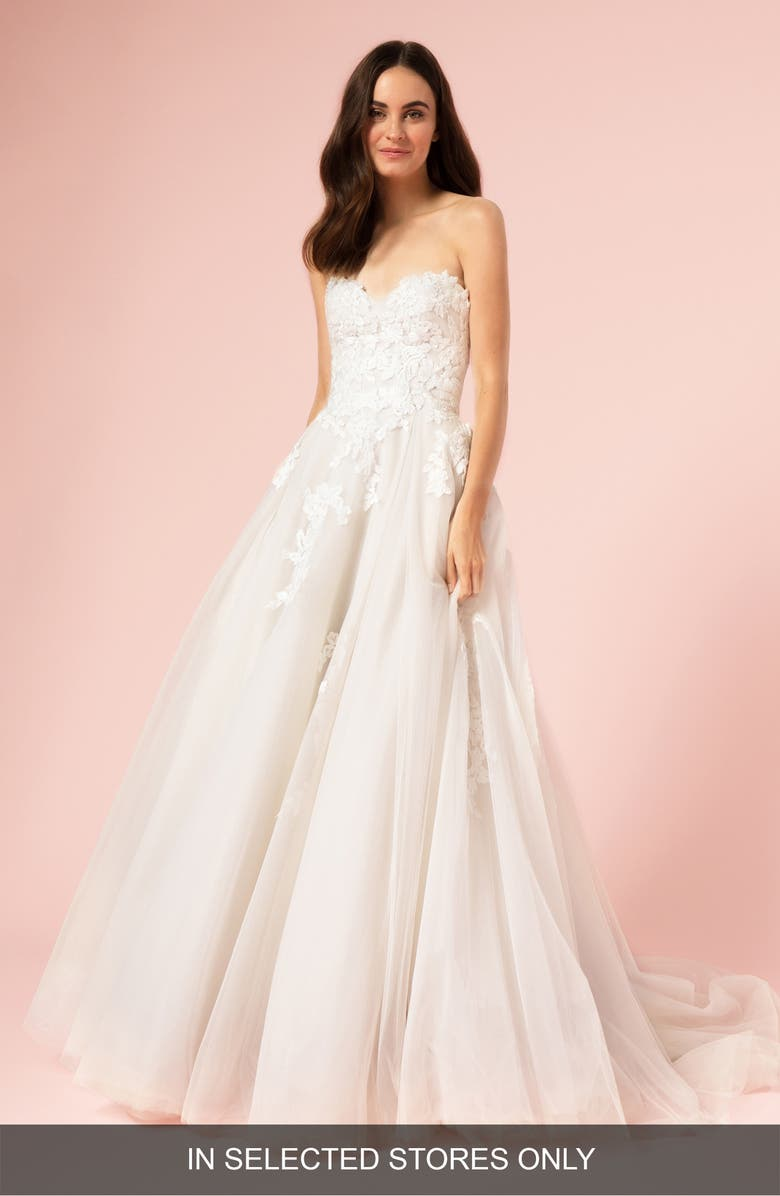 BLISS MONIQUE LHUILLIER Strapless Ballgown Wedding Dress, Main, color, SILK WHITE/ LATTE