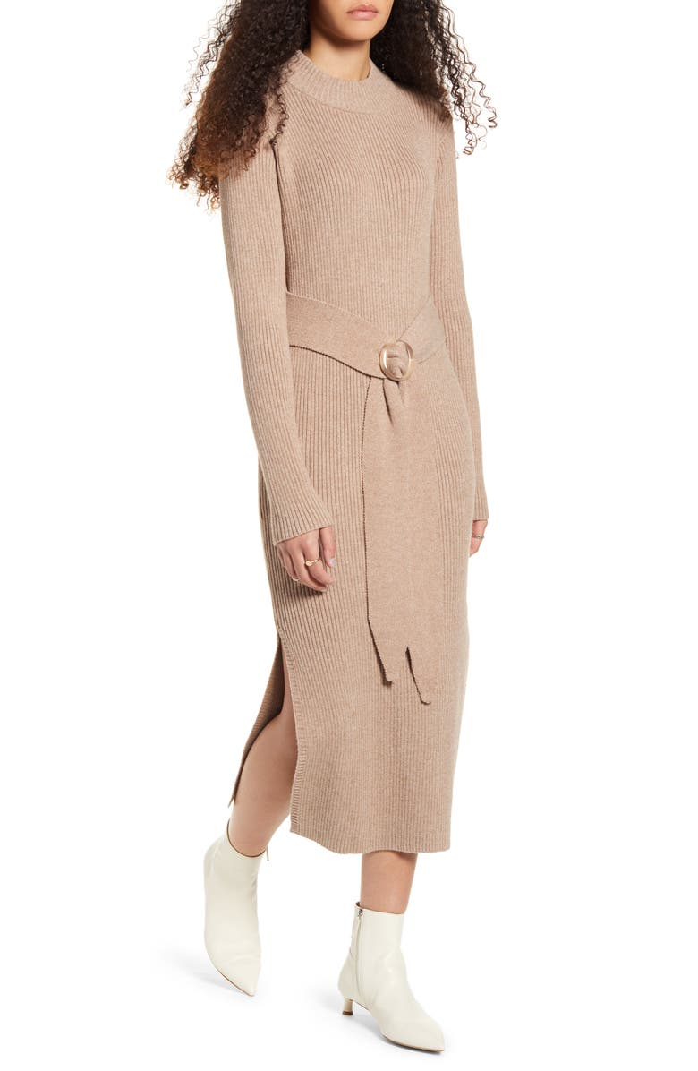 MOON RIVER Long Sleeve Belted Sweater Dress, Main, color, OATMEAL