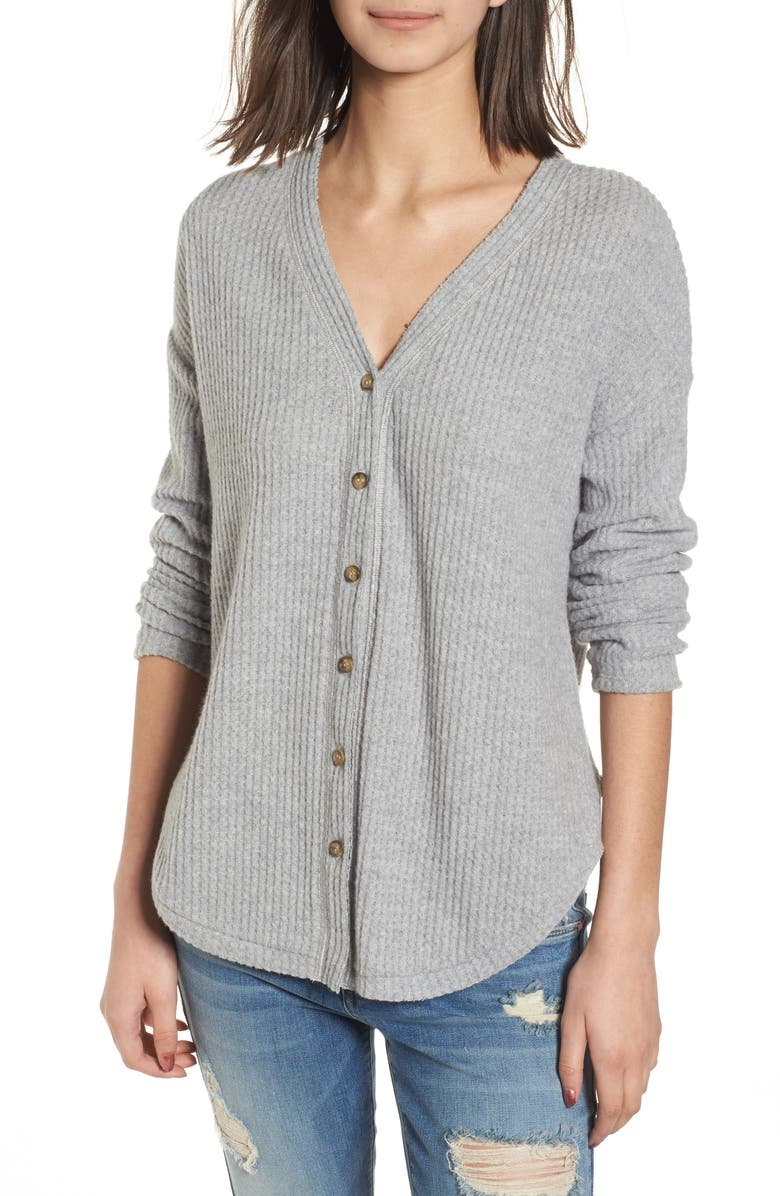 SOCIALITE Thermal Button Front Shirt, Main, color, 020