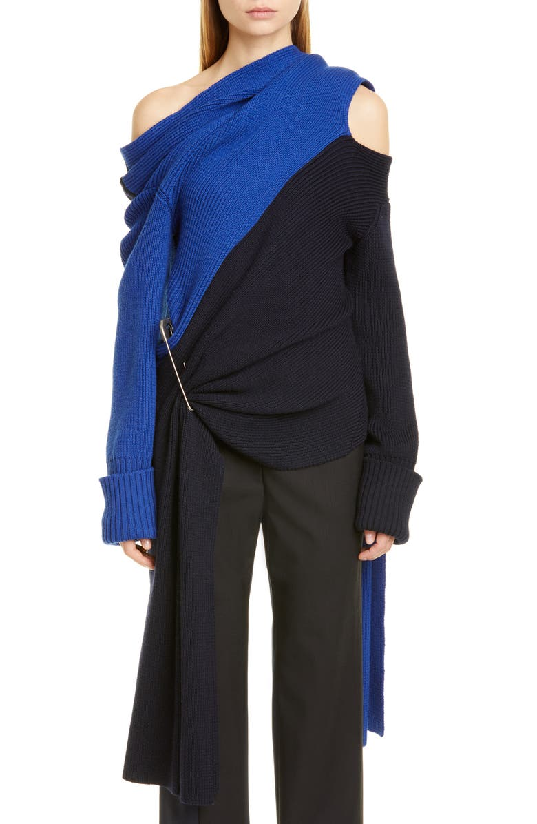 MONSE Scarf Neck Two-Tone Merino Wool Sweater, Main, color, MIDNIGHT/ BLUE