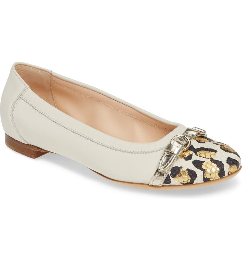 AGL Cap Toe Ballet Flat, Main, color, OFF WHITE/ GOLD LEOPARD