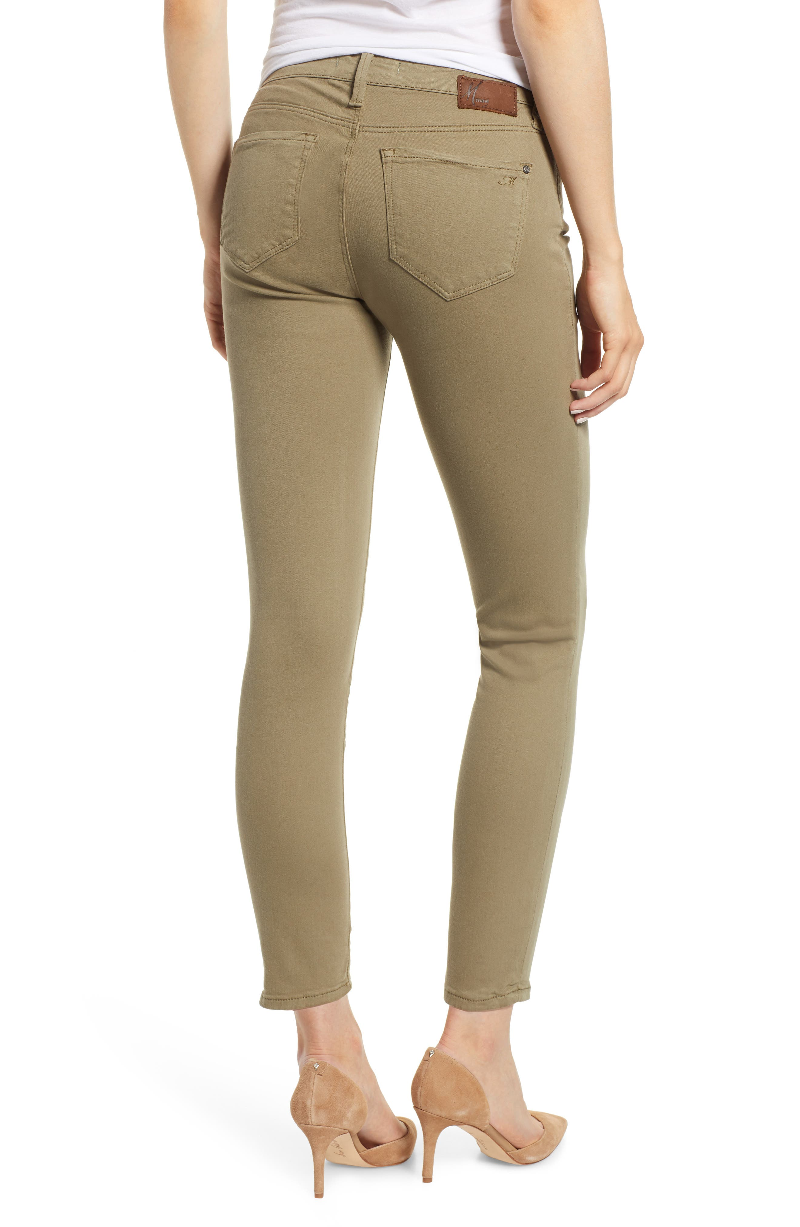 ,                             Adriana Ankle Skinny Fit Pants,                             Alternate thumbnail 2, color,                             DUSKY GREEN TWILL
