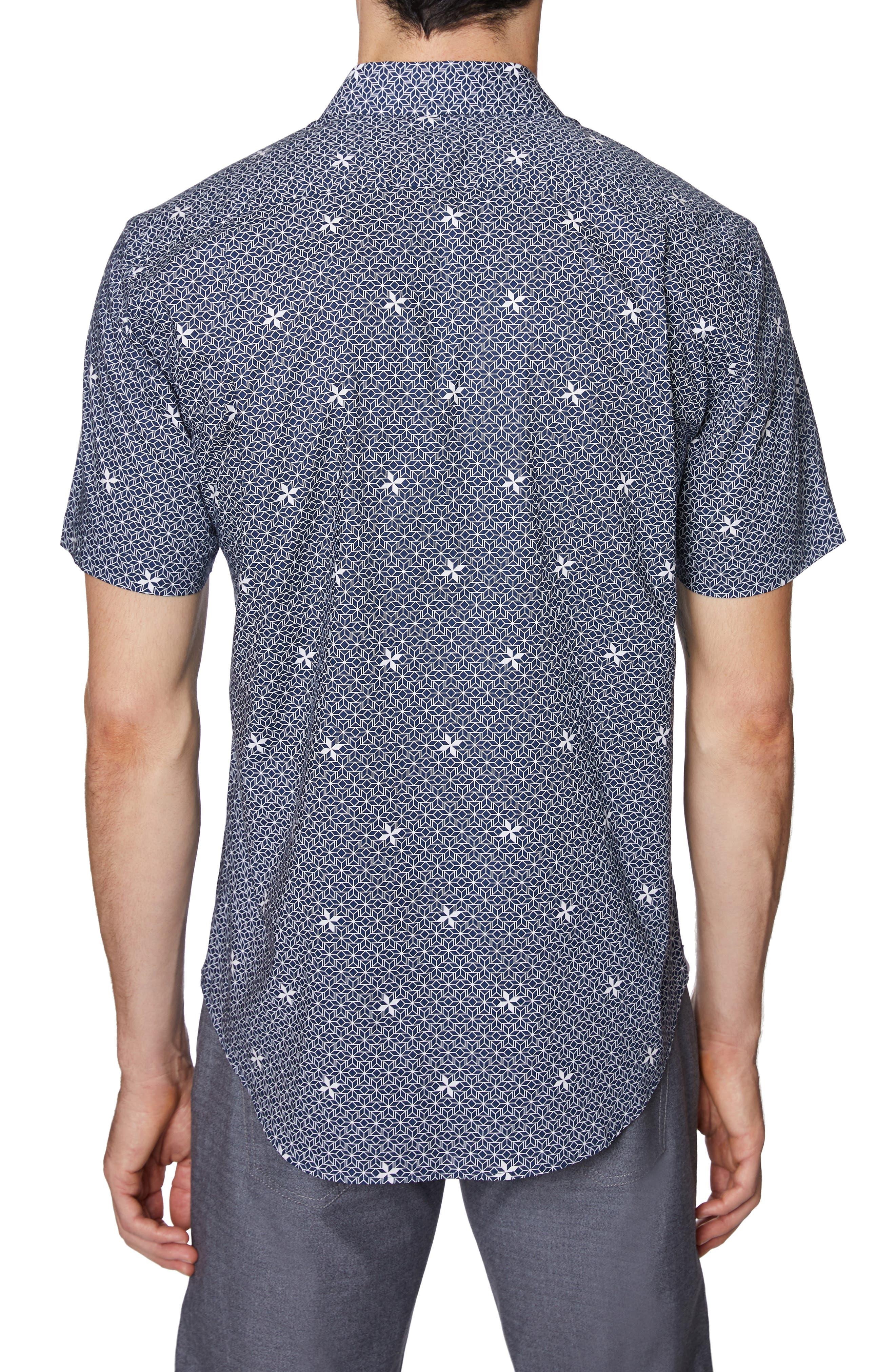 ,                             Print Short Sleeve Sport Shirt,                             Alternate thumbnail 3, color,                             NAVY PRINT