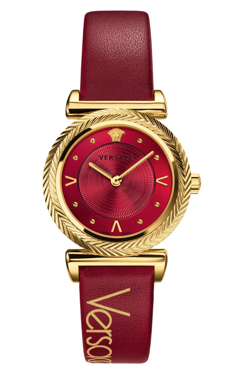 Versace V Motif Leather Strap Watch 35mm