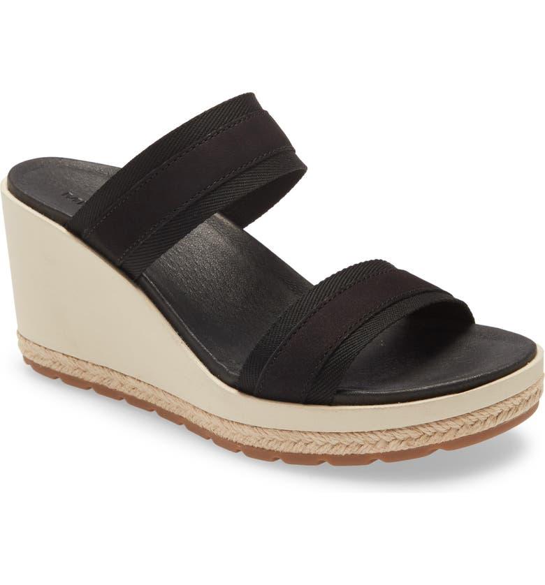 MERRELL Kaiteri Wedge Slide Sandal, Main, color, BLACK FABRIC