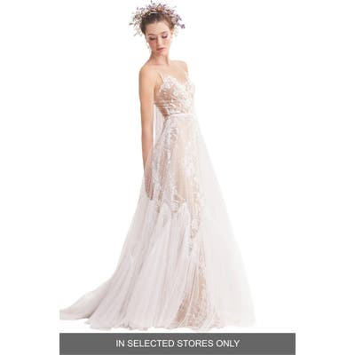 Willowby Capricorn Illusion Strapless A-Line Wedding Dress, Size IN STORE ONLY - Ivory