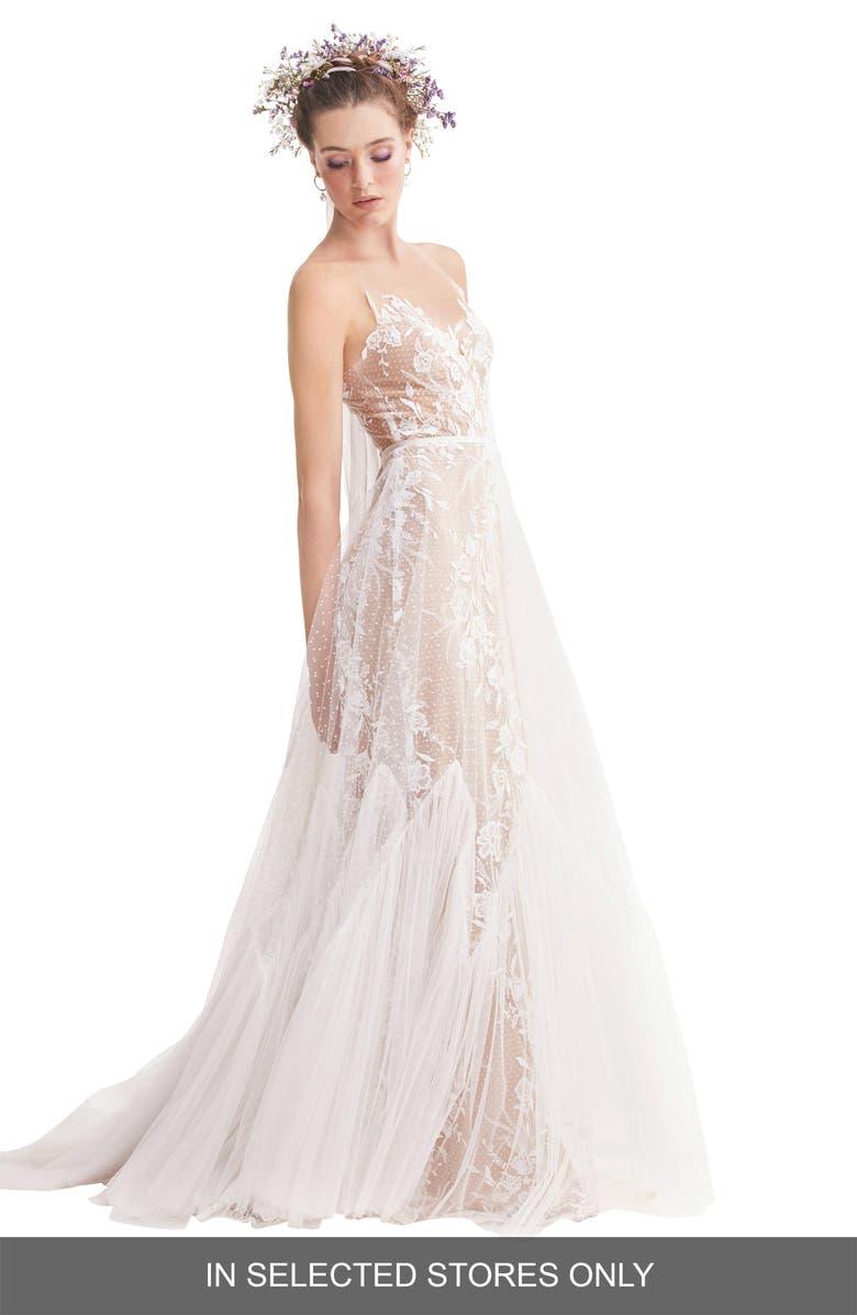 willowby capricorn illusion strapless a-line wedding dress