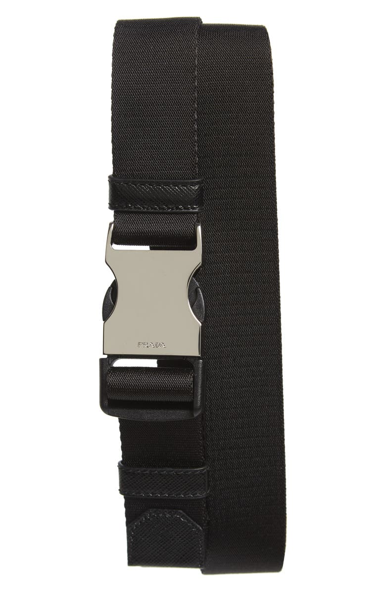 PRADA Nastro Nylon Web Belt, Main, color, NERO