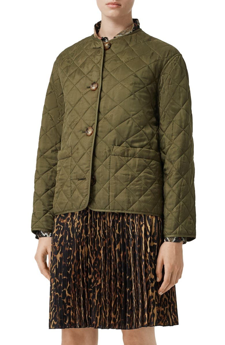 BURBERRY Bardsey Logo Jacquard Diamond Quilted Coat, Main, color, OLIVE
